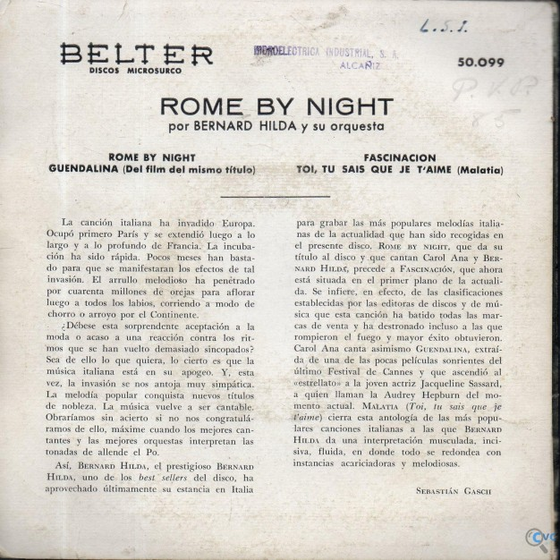 SINGLE ROME BY NIGHT POR BERNARD HILDA Y SU ORQUES